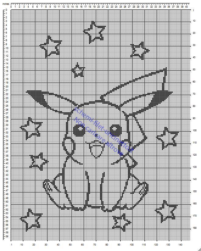 Copertina lettino a sponde con il Pokemon Pikachu schema filet uncinetto gratis