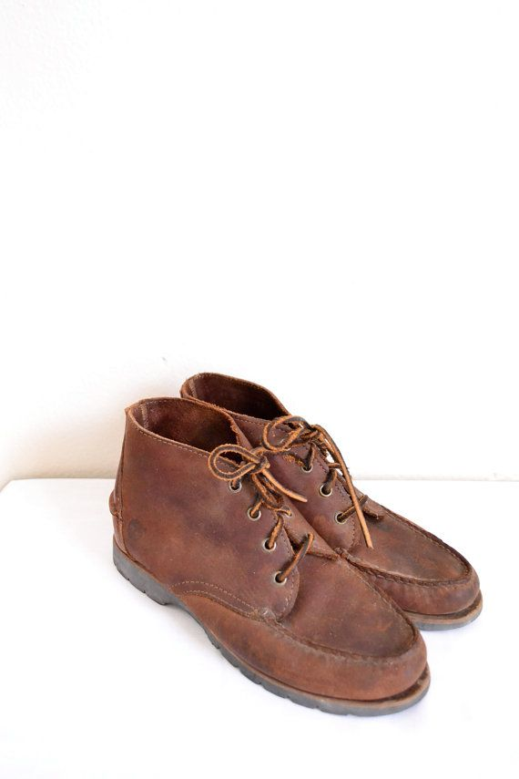 1990s brown leather timberland boots // lace up by SpanoVintage, $38.00