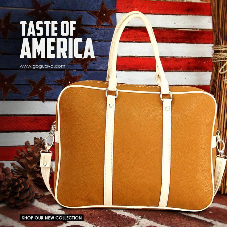 Tan Duffel Handbag : Your new mini laptop companion!   Buy Now : http://bit.ly/1thbFIA
