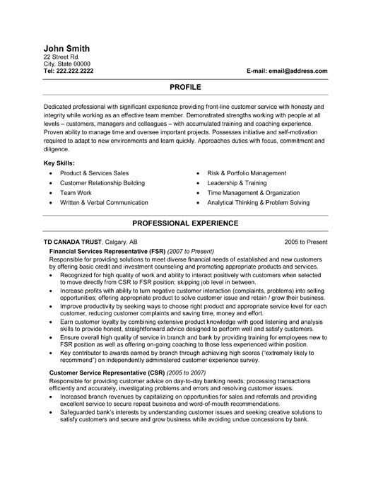 financial service representative resumes
