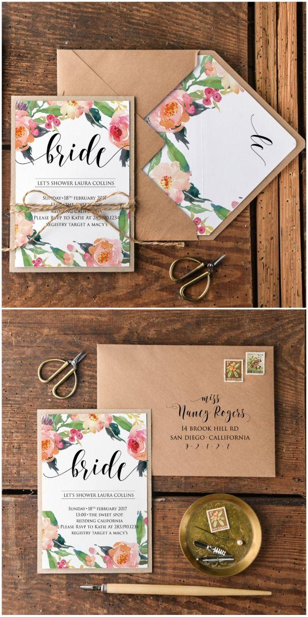 bridal shower invitations registry etiquette%0A Bridal Shower floral invitation with twine  bridetobe