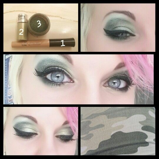 "Matched my camo print pants this day. First I use e.l.f. eye primer, then I use a white cream shadow by wetnwild (not pictured). Next I used Hard Candys Poppin Pigments in ""froggy kisses"" from the inner corner of the eye out. Then I used Sugarpills ""Junebug"" for the crease and outer corner. Blend blend blend! For the brown bone I mixed a white and very light green from a non-namebrand makeup palette. Finish with Revlon liquid eyeliner, mascara and false eyelashes. :)"