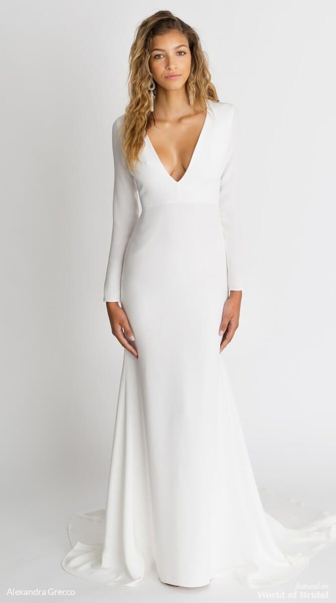 The Celine Gown Is A Sleek Silk Crepe Style Perfect For Bride Who Wants Clic Silhouette With Modern Details This Long Sleeve Features