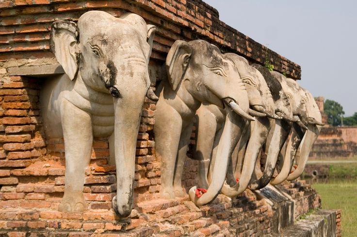 Elephants lining the base of Wat Sorasak, Sukhothai Ruins, Thialand