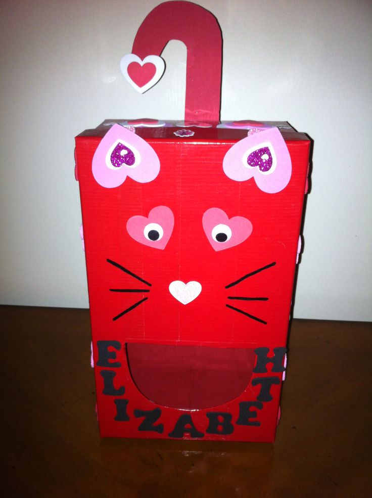 kitty cat valentine box wrap shoebox with red duct tape and decorate with foam heart - Cat Valentine Box