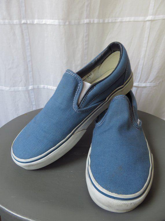 fa7a7483390 6.5 Men s Vans Slip Ons Sky Blue Deck Shoes Skateboarding Shoes in 2019