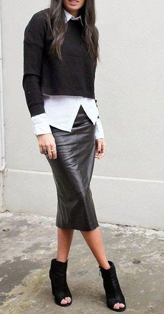b1db6979f7 black + white fall street style. leather midi skirt. crop knit. shirt. peep  toe ankle boots.