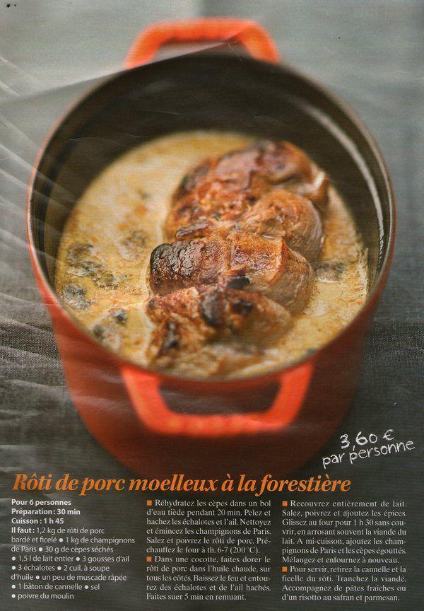 Porc : rôti de porc à la forestière