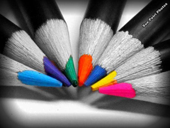 Color Me Happy Wall Art Nursery Room Decor Color Pencil Photos Playroom Decor