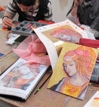 """Artist (Soyo) - Work in progress showing an interpretation of a traditional work - the artists and students were participating to the """"create a small icon"""" course at Tresillian Art Center. Tutor G. Dalli Cani - 2015"""