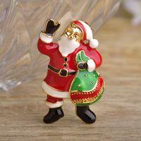 Эмаль Дед Мороз Броши Золото-Красный цвет рисунок Брошь Для Женщин Значки Рождественский подарок Пальто Костюм Украшения Знак Bijoux