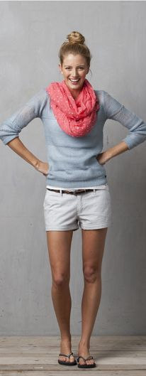 shorts with long sleeve tee and scarf, top knot. perfect early spring outfit