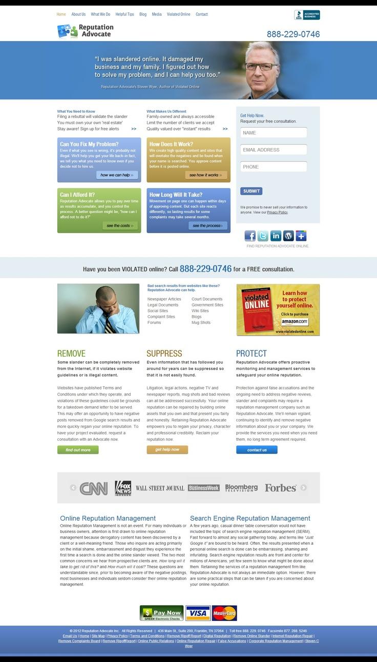 Screenshot of Reputation Advocate's webpage, www.reputationadvocate.com