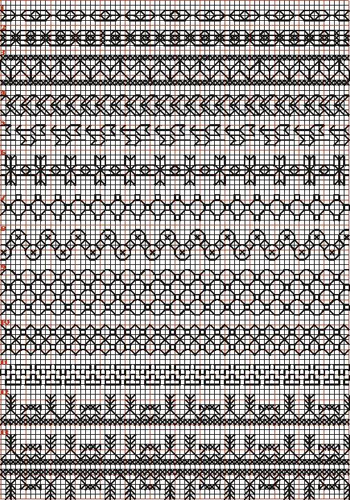Borduren en borduurwerk:zwart borduren:randen 1-13