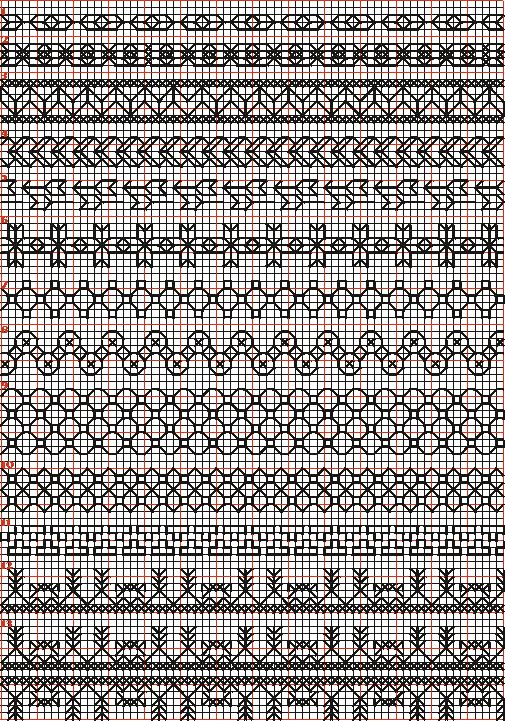 Embroidery and embroider:blackwork,borders 1-13