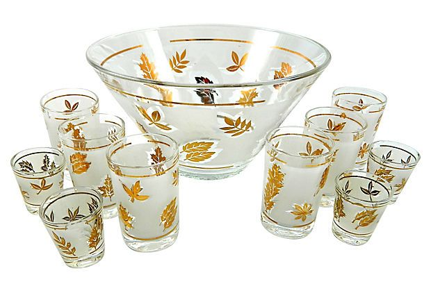 Libbey Punch Bowl & Glasses