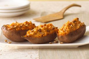 If you like twice-baked potatoes, wait until you try this sweet potato version. Cream cheese, cinnamon and pecans make 'em extra special.