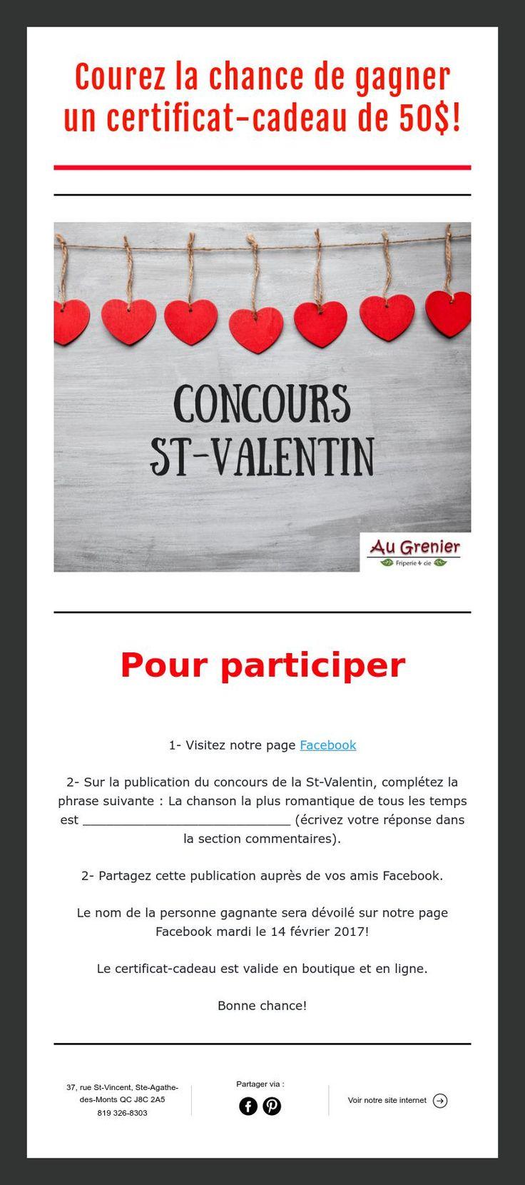 Concours de la St-Valentin! Courez la chance de gagner un certificat-cadeau de 50$ chez Au Grenier - Friperie et cie