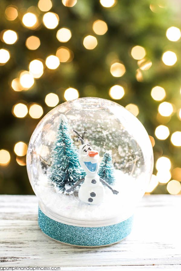 Got a house full of Disney fans? Your kids will get a kick out of this snow globe, inspired by the movie Frozen. Get the tutorial at A Pumpkin And A Princess.   - CountryLiving.com