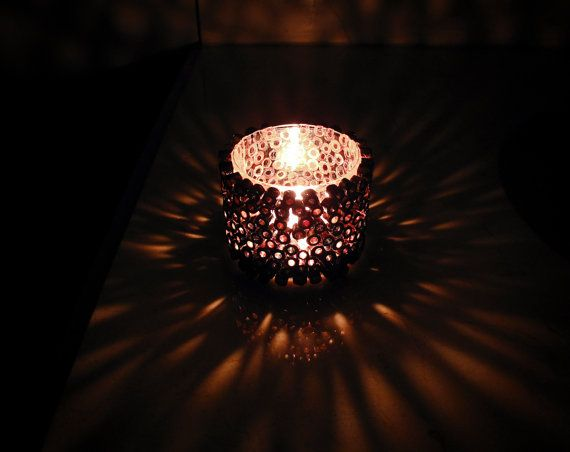 Votive Candle Holder  Brown Candle Holder Made with by gr3een, $20.00