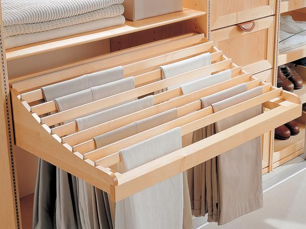 Pull-Out Pant Rack A pull-out pant rack keeps pants looking freshly pressed and makes it easy to find your favorite pair. Photo courtesy of...