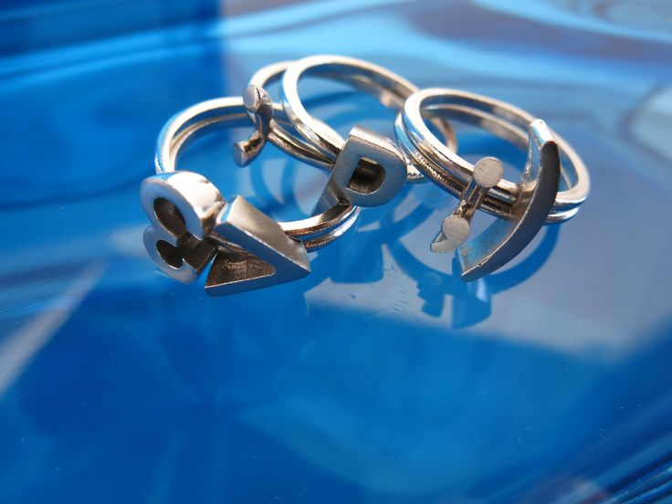 sterling silver emoticon rings - mix, match, stack - new age mood rings - low tech IM