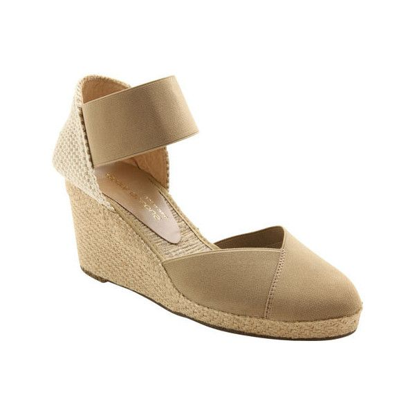 Women's Andre Assous Anouka Mid Wedge - Taupe Elastic Casual ($119) ❤ liked on Polyvore featuring shoes, casual, casual shoes, grey, taupe shoes, espadrilles shoes, wedge espadrilles, taupe wedge shoes and grey espadrilles
