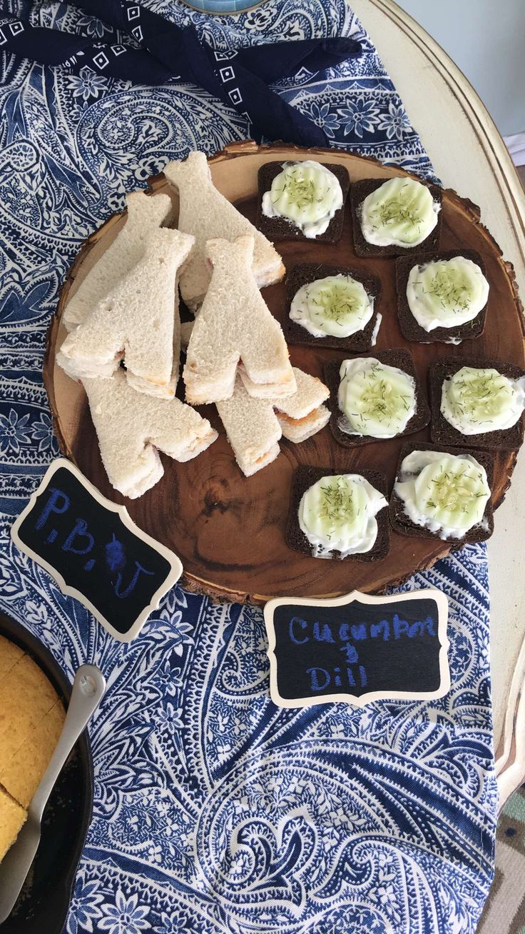 Tee pee PB&J's and Cucumber dill sandwiches