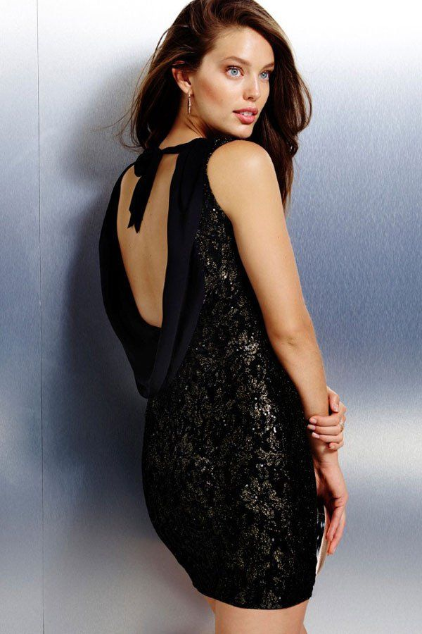 Robe Robes De Club Floral Metallic Lace Sexy Backless Party #RobeCocktail Pas Cher – Modebuy.com