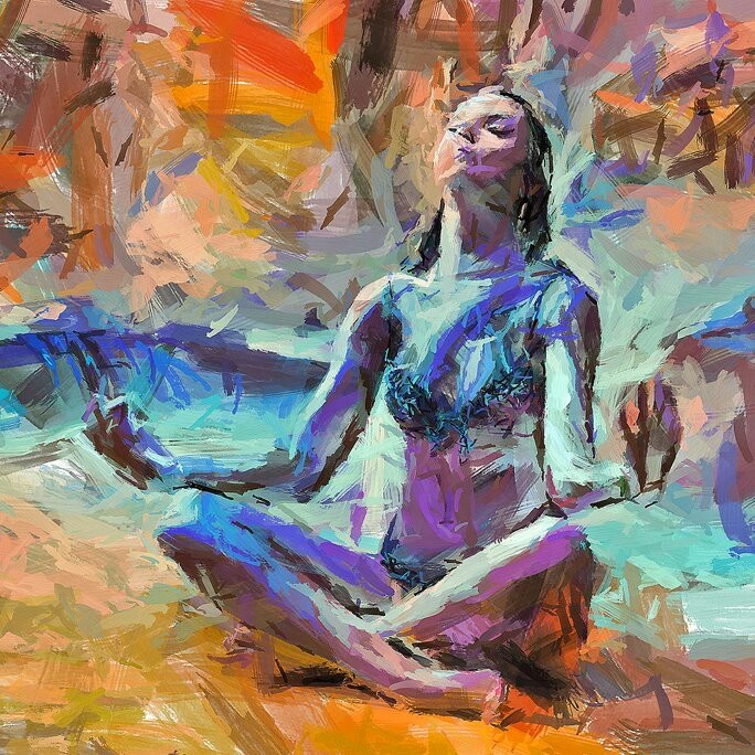 Mujer meditando...