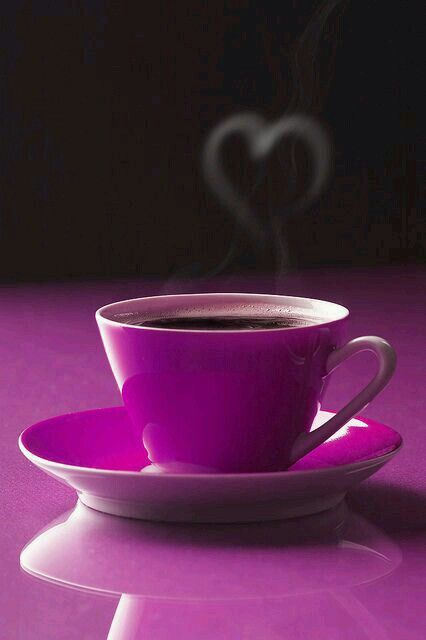 Purple Coffee Cup with a steam of hearts