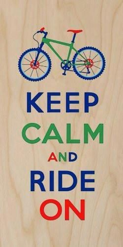 'Keep Calm and Ride On' Colorful Mountain Bike Motorcycle – Plywood Wood Print Poster Wall Art