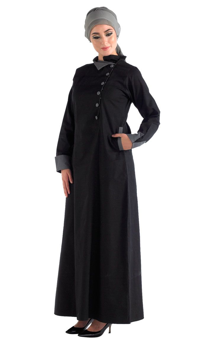 100% cotton breathable front open jilbab. This item is the staple basic must have in any closet. It can be worn as an abaya or as an over garment.