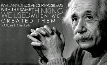 No podemos resolver nuestros problemas , utilizando los mismos pensamientos que usamos cuando los creamos . . . - Albert Einstein -  @swami1951