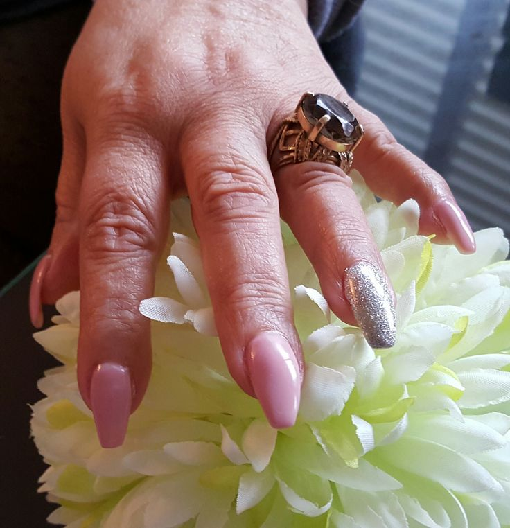 Gel nails done in Ballerina style, Kiss - Pink  and Silver for accent nail.