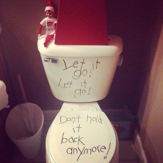 Elf on the Shelf Frozen toilet.