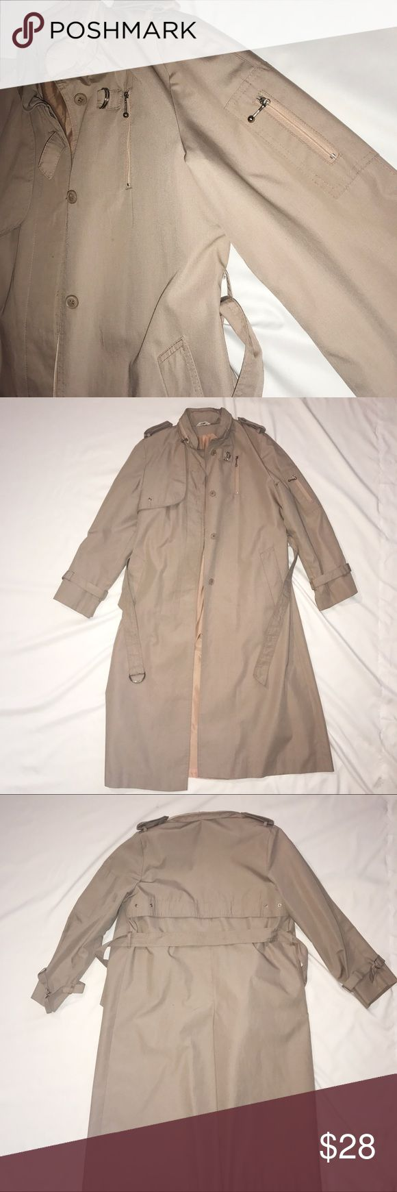 Women's trench coat Vintage women's trench coat with hood that rolls up and zips into collar. Beautiful, great quality coat. Size 9/10 Jackets & Coats Trench Coats