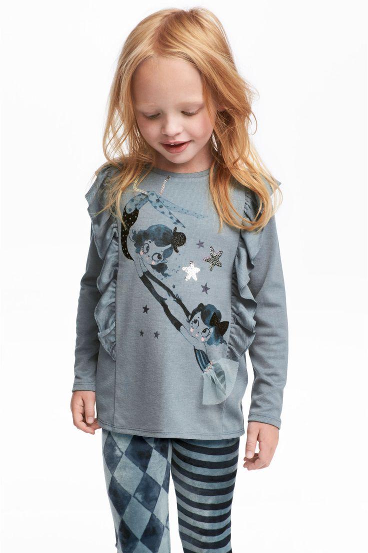 Žerzejové triko s volánky - Světle modrošedá - | H&M CZ