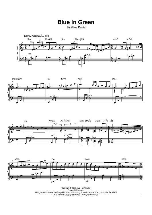 blue in green piano pdf