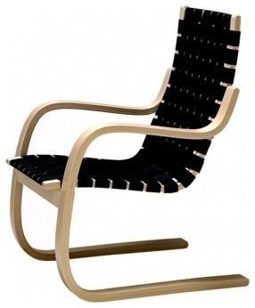 Alvar Aalto 406 Armchair, Black Linen