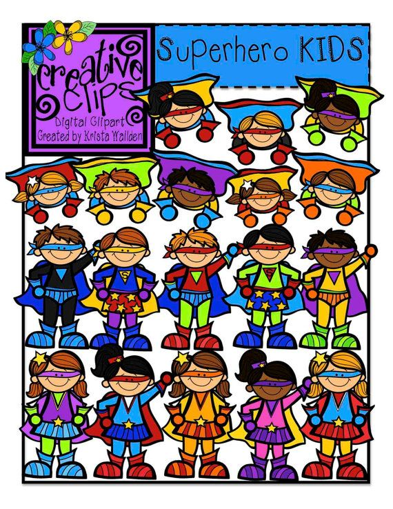 Super Hero KIDS (Creative Clips Digital Clipart) on Etsy, $4.50