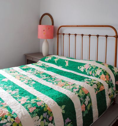 Stripes & florals.. love this great pop of green & the contrast of cream stripes makes this a great unique look for spring bedding!!