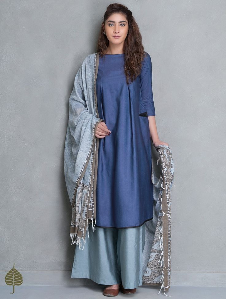 Blue Natural Dye Tussar Munga Kurta with Pockets by Jaypore