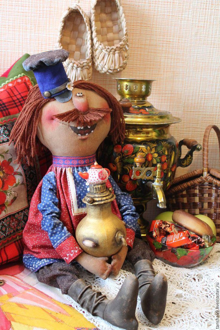 Купить Женишок! - комбинированный, текстильная кукла, ароматизированная кукла, интерьерная кукла, мужик, самовар