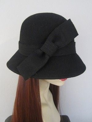 "Big #Bow Black Wool Hat  Hair Length: 18"" Hair Color Pictured: #33 Dark Auburn High-quality synthetic hair fiber."