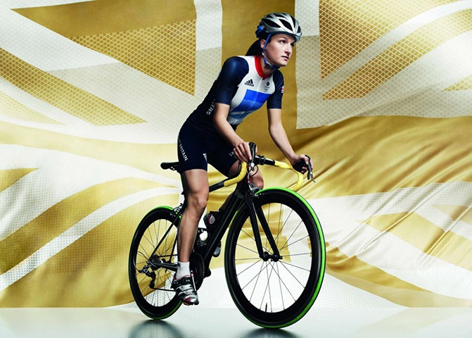 Lizzie Armitstead in women's cycling kit. The official London 2012 Olympic and Paralympic Games Team GB kit, designed by Stella McCartney has been launched.