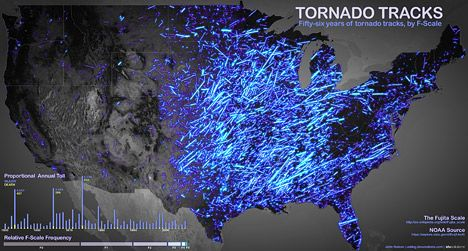 NASA~~Tornado Tracks~~June 14th, 2012 by Michon Scott. This map breaks down tornadoes by strength based on the Fujita scale. Stronger tornadoes appear as brighter lines. (An enhanced Fujita scale was implemented in 2007, but these tornado tracks were classified according to the earlier version.)