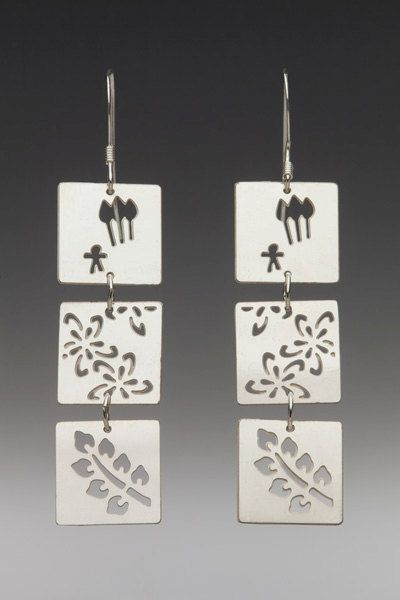 Items similar to Three Square with Leaf Earrings on Etsy