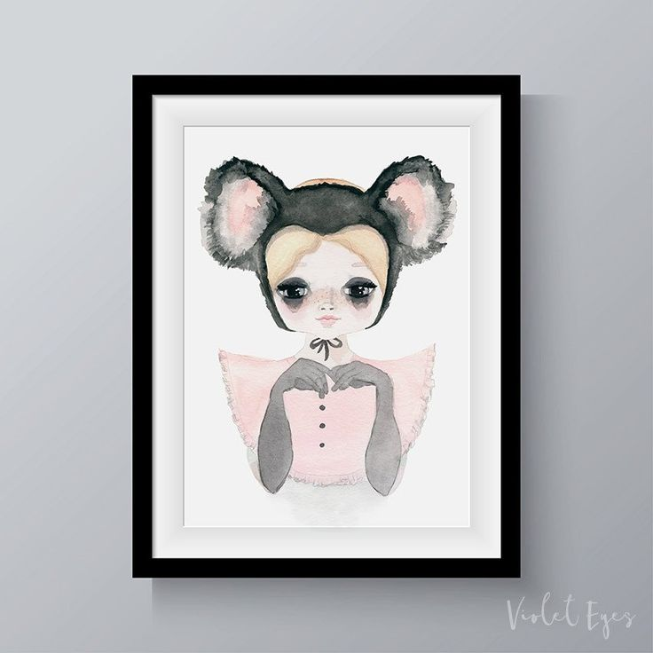 Koala Belle print from Violet Eyes. This kids wall art print has been made for nurseries and bedrooms. Part of the Violet Eyes �Wilde Things� collection, it is inspired by the cute, furry and cuddly Koala Bear. Made in Melbourne this print is perfect for boys and girls nursery and bedroom. It comes in multiple sizes and makes a stylish and unique wall art print for children. A modern take on an Australian icon. Shop now https://www.violeteyes.com.au/products/koala-girl