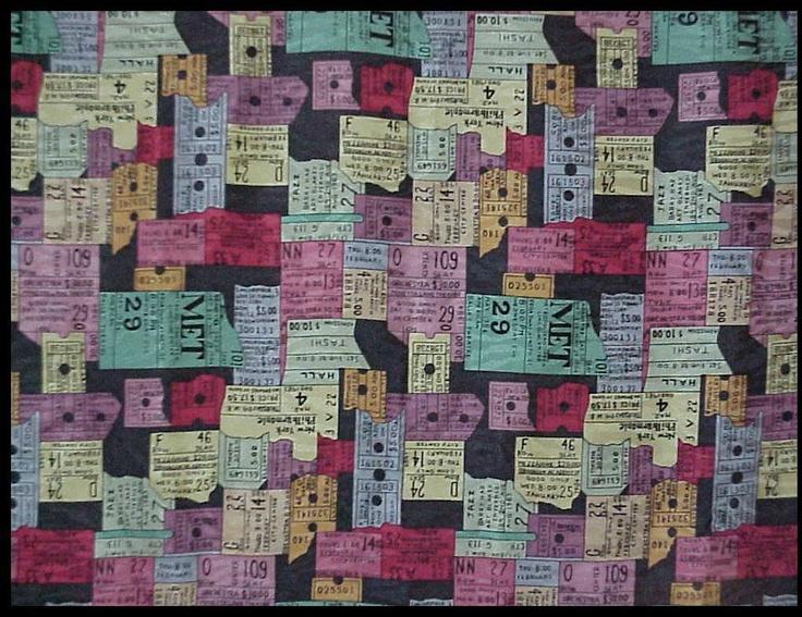"NICOLE MILLER Vintage  Scarf Silk  THEATRICAL TICKET STUBS 43"" | eBay"
